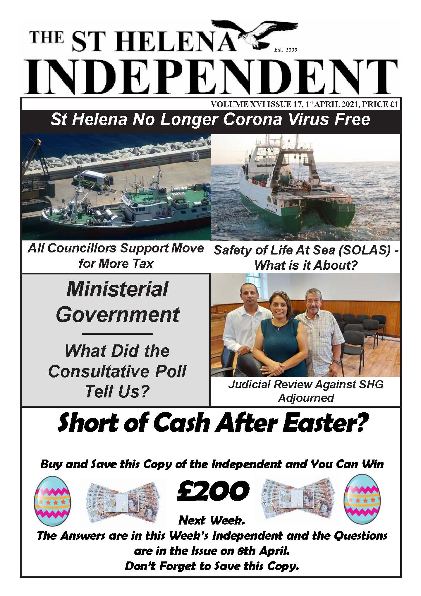 St Helena Independent 20210401 Front